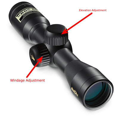 windage and elevation scope adjustments - used to sight in a scope