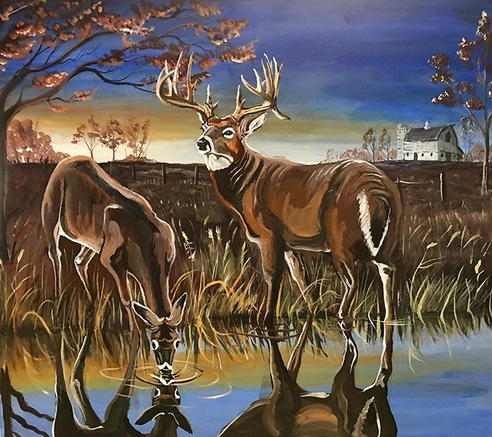 rick mott deer painting